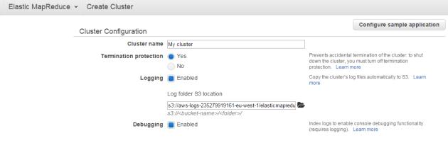 Create cluster dialog in Amazon Elastic MapReduce