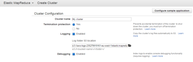 Create cluster dialog in Amazon Elastic MapReduce