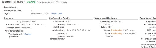 EMR cluster status screen