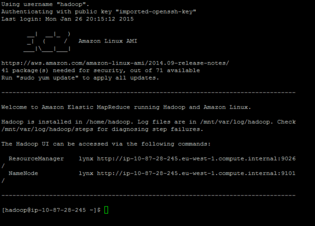 Successfully logged onto the EMR master node with Putty