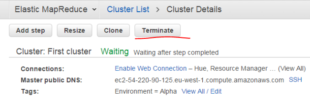 Terminate button on EMR cluster status page