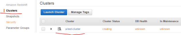 Amazon RedShift cluster being created
