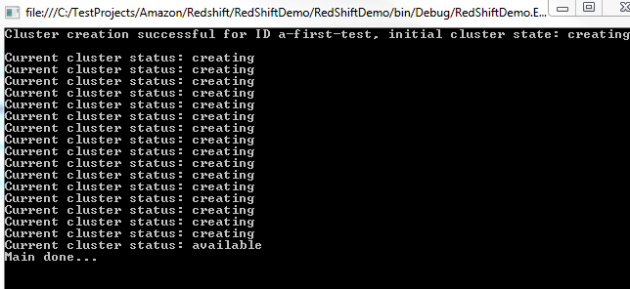 Amazon RedShift cluster creation console output