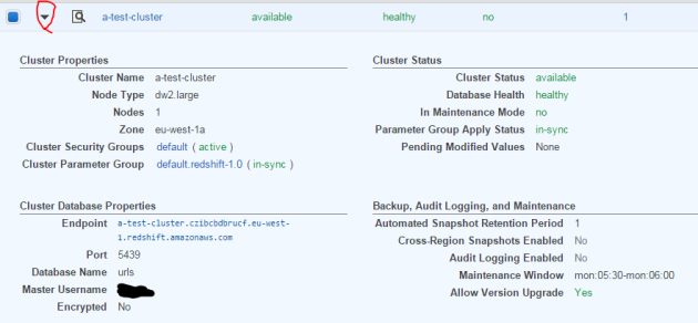 Amazon RedShift cluster details minor edition