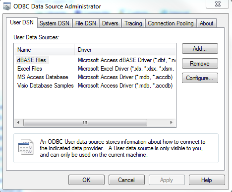 ODBC data source administrator tool