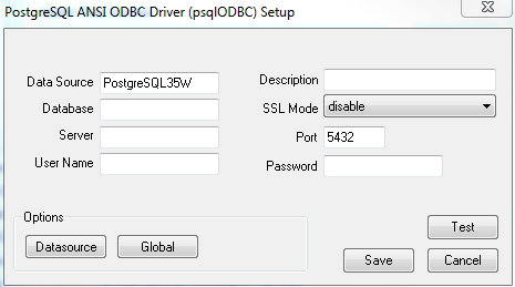 POstgreSQL ODBC driver setup window