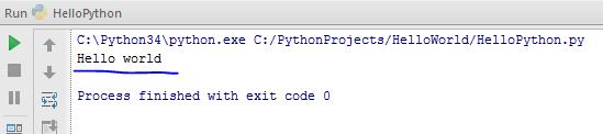 Python hello world output