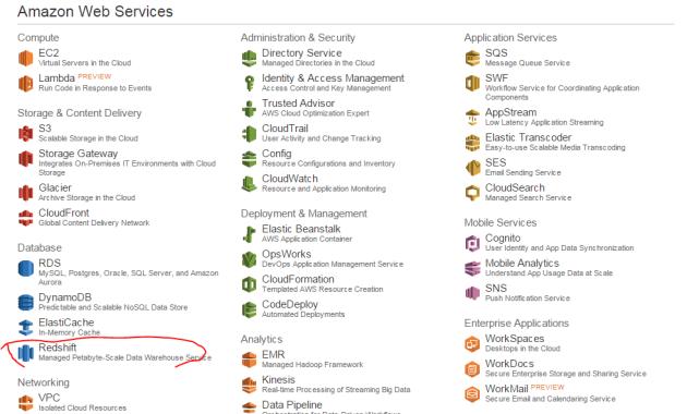 RedShift in AWS GUI menu