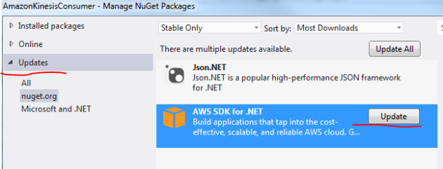 Update AWS SDK NuGet package