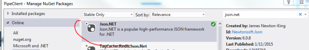 Json.NET library in NuGet