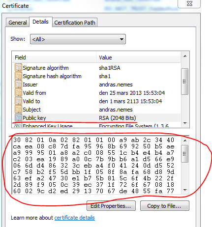 Public key of certificate in snap-in