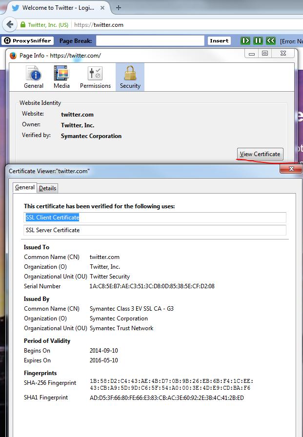 Twitter server certificate details as seen in Firefox