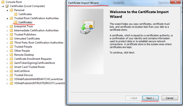 Certificate Import Wizard dialog