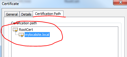 Certificate path is from local CA