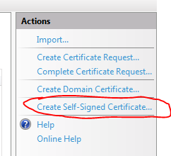 Create self signed certificate link in IIS