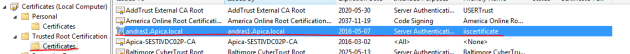 IIS certificate also listed among CA certificates
