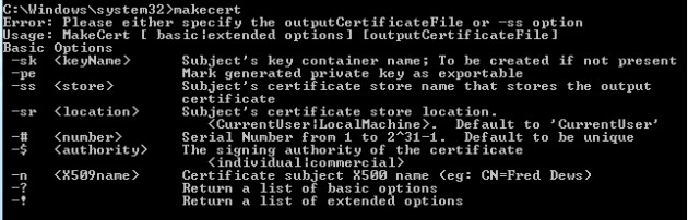 Makecert basic usage printout in command prompt