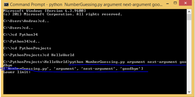 Passing in arguments from the command line