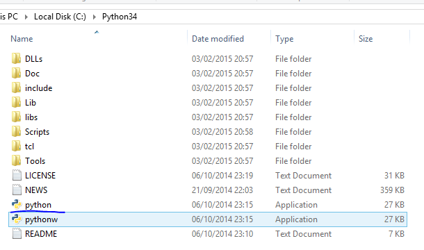 Python executable in the Python installation folder