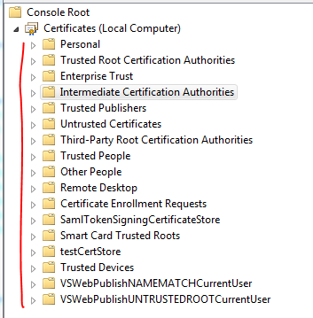 Store names as folders in MMC certificates snap-in