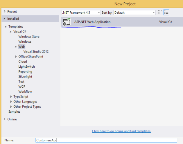 Create asp.net project in visual studio 2013