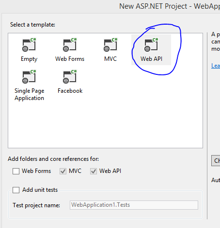 Create new Web Api project in Visual Studio