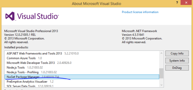 Current latest package of NuGet PM