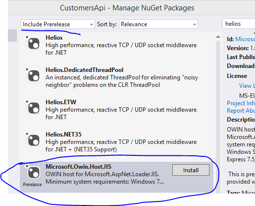 Install Helois pre-release package from NuGet