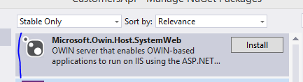 Install SystemWeb OWIN through NuGet
