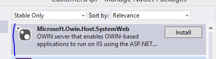 Install SystemWeb OWIN through NuGet