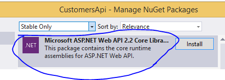 Install Web API 2 core library from Nuget