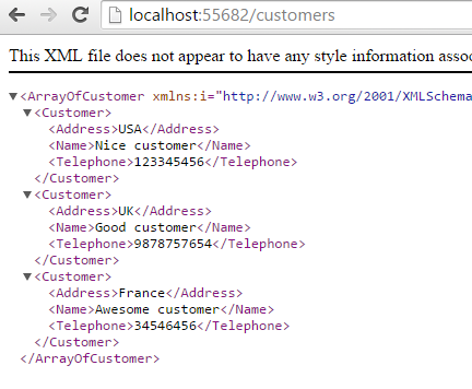 List of customers in XML format from Web API 2 project