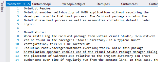 ReadMe file after installing OwinHost