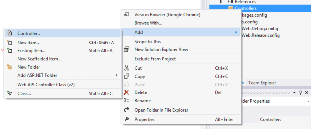 Select add controller from context menu in visual studio