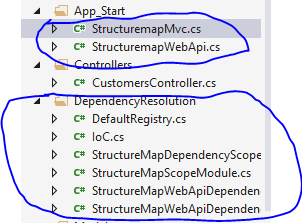 StructureMap related files added to project