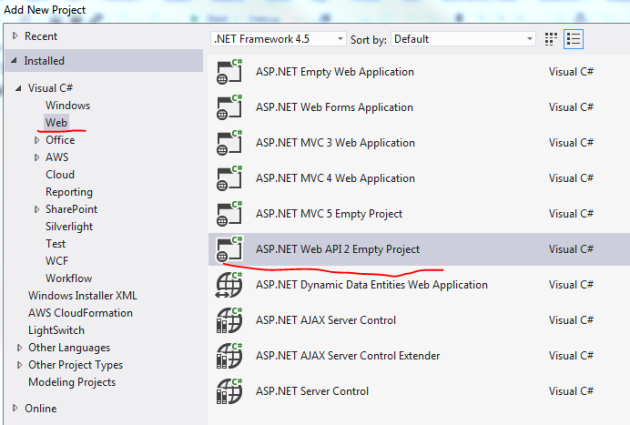 Add new Web Api 2 project in visual studio 2012