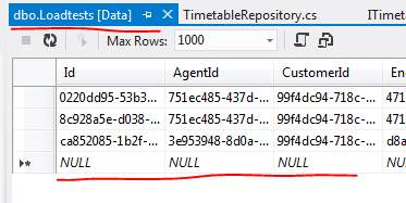 Adding records manually to the loadtests table
