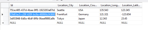 Seeded values inserted into overall database context sets