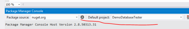 Set package manager default project to database tester