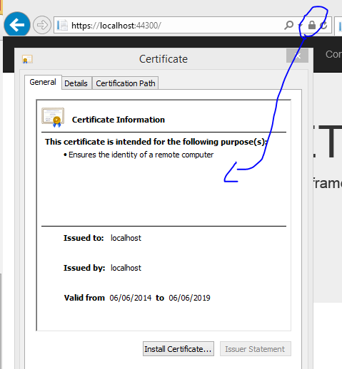 Certificate details from internet explorer