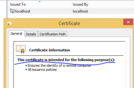 localhost certificate is now trusted