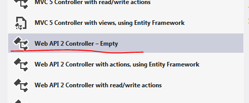 Add empty controller to project