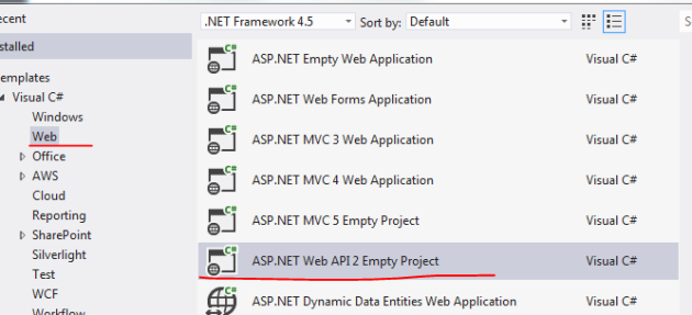 Empty Web API 2 project template