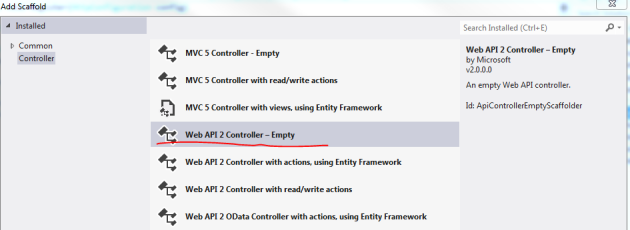 Add empty web api 2 controller
