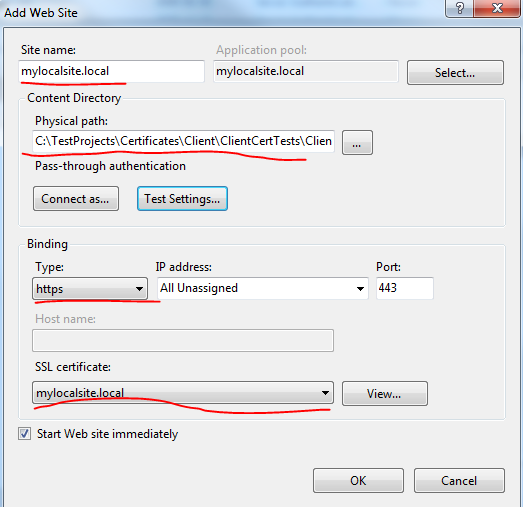 Adding local SSL site to IIS