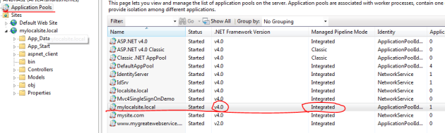 Application pool setup for OWIN in IIS