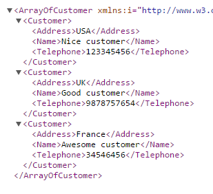 Array of customers shown in chrome as xml