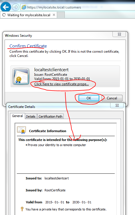 Browser prompting for a client certificate