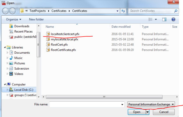 Importing the client certificate with private key