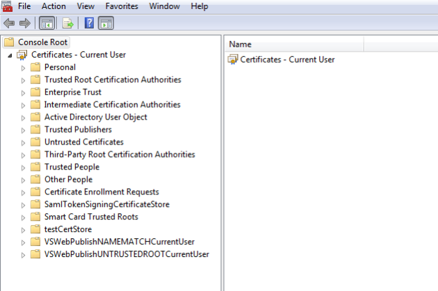 Opening the client certificate store dedicated to the user